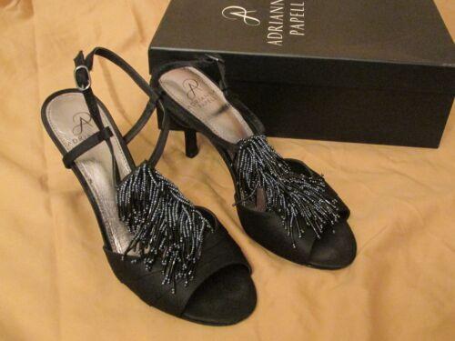 c7ac35b00b Women s Adrianna Papell Majesty T-Strap Beaded Dressy Black Satin Heels  Size 8.5