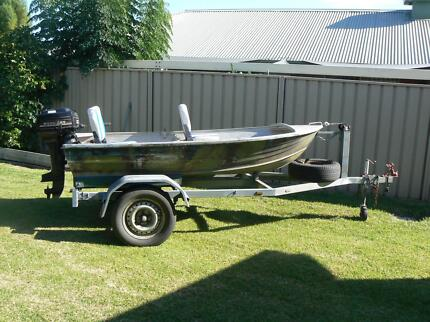 10ft tinny. 7.5 mercury outboard. swivel seats and trailer.