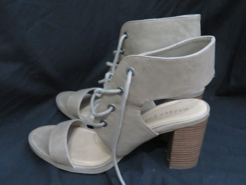 2d1f2bd315d Steve Madden Girl Taupe Faux Suede High Block Heels Lace Up Open Toe ...