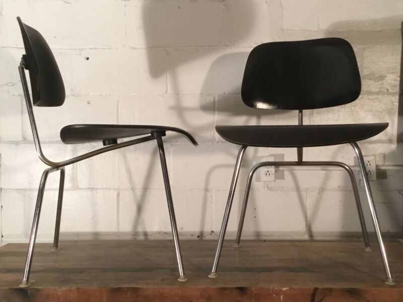 pair of Eames DCM ebonized chairs 1959-1962 Charles Ray mcm dining