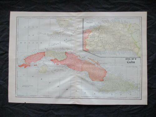 1901  Spanish American War Lithograph Map of Cuba - FRAME IT - I HAVE OTHERS