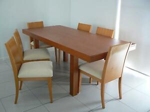 Dining Table Cherry Wood + 6 Chairs Excell Condition. Wavell Heights Brisbane North East Preview