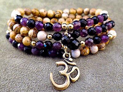 108 bead picture jasper, amethyst and onyx necklace wrap bracelet w/ bronze OM