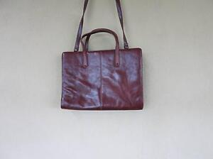 Burgundy leather briefcase Hackett North Canberra Preview