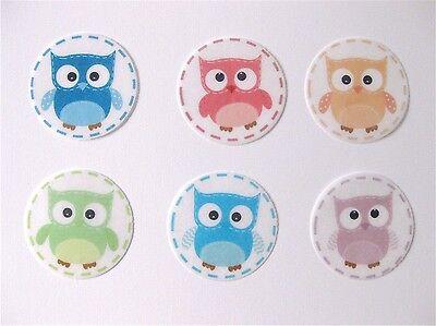 PRE CUT 12 EDIBLE RICE PAPER WAFER CARD OWL CAKE CUPCAKE PARTY TOPPERS - Owl Cupcake Papers