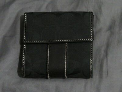 """Genuine Coach Bifold Small Black Leather & Canvas Signature """"C"""" Wallet - NICE!!"""