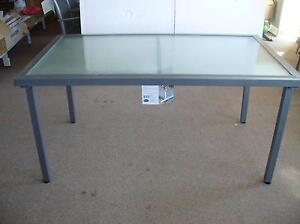 Outdoor aluminium glass top table 1.5x.9m. Graphite colour. Brand Wendouree Ballarat City Preview