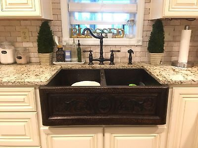 Copper Double Bowl 50/50 Farmhouse Kitchen Sink handmade hammered