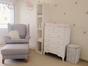 Large Grey Rocking Armchair & Footrest Cooks Hill Newcastle Area Preview