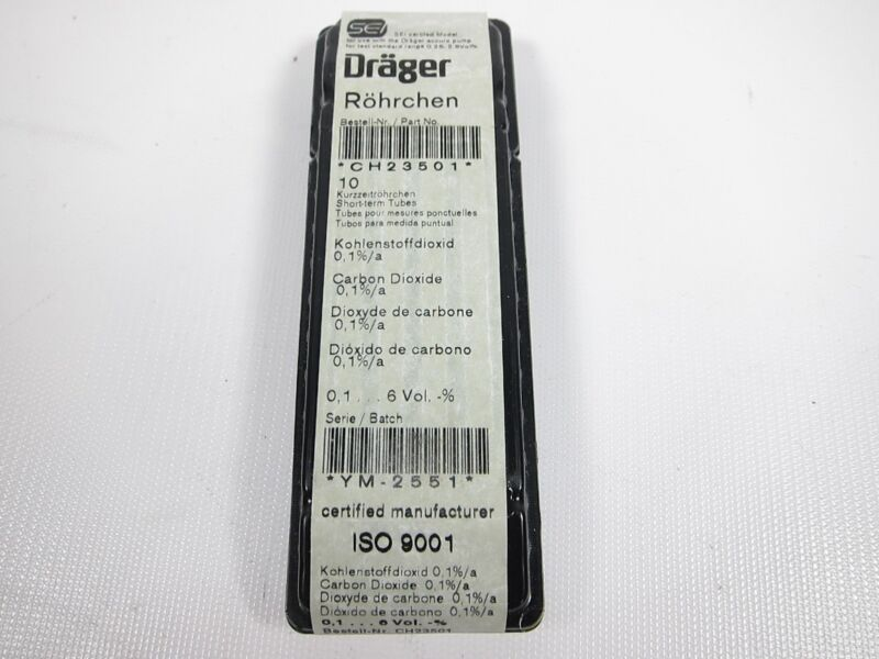New Box Of 10 Drager CH23501 Carbon Dioxide Detector Tubes EXPIRED