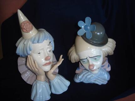 A pair of Lladro clowns