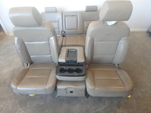 14-16 Gmc Sierra 1500 Front Rear Seat Console Tan Leather Power Chevy Silverado