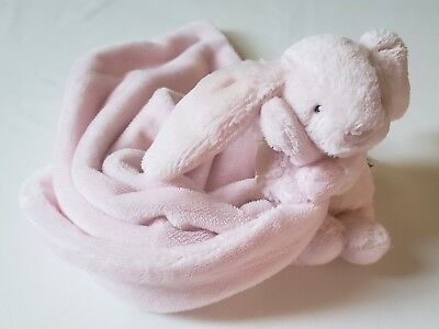 Jellycat Pink Bunny Rabbit Holding Security Baby Blanket Plush Lovey