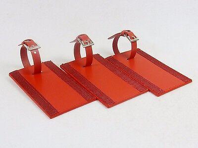 Set of 3 Red Leather Luggage Tags ~ Leeman Ilani Cowhide, Buckle Strap (Cowhide Leather Luggage Set)