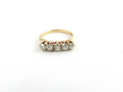 Antique 14k Yellow Gold Diamond Band Size 5 #876