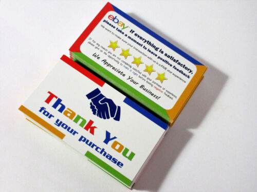 100 eBay Thank You Cards Business Size Double Sided High Quality Made in USA