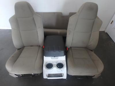 99-10 Ford F250 F350 Front Rear Seat Console Grey Stone Cloth Manual