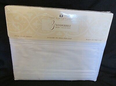 Vintage Flaches Blatt (Neu Vintage No-Iron Perkal Gloria Vanderbilt Voll Flach Blatt 180 TC Creme)