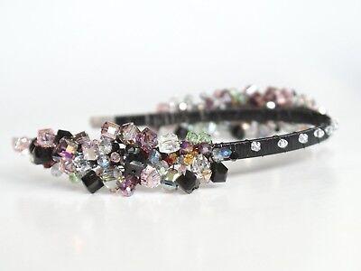 Krone Perlen Diadem Tiara Haarschmuck Fascinator Anlass Boho Rhinestone Bunt Neu