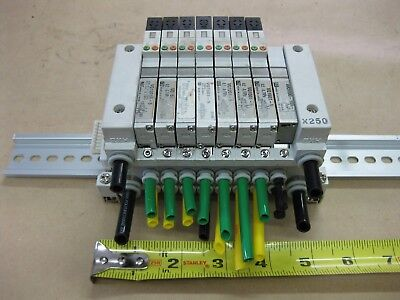 Smc Pneumatic Pcw Type 8 Valve Bank Lot Vq1501-5 24vdc X250 Mount Module
