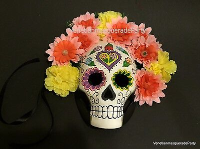 Flower Day of the Dead theme Masquerade Mask Costume Party Wear or Wall Deco - Day Of The Dead Party Theme