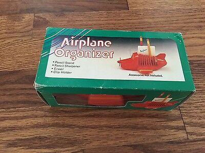 Vintage Retro Airplane Desk School Organizer Pencil Sharpener Clip Holder
