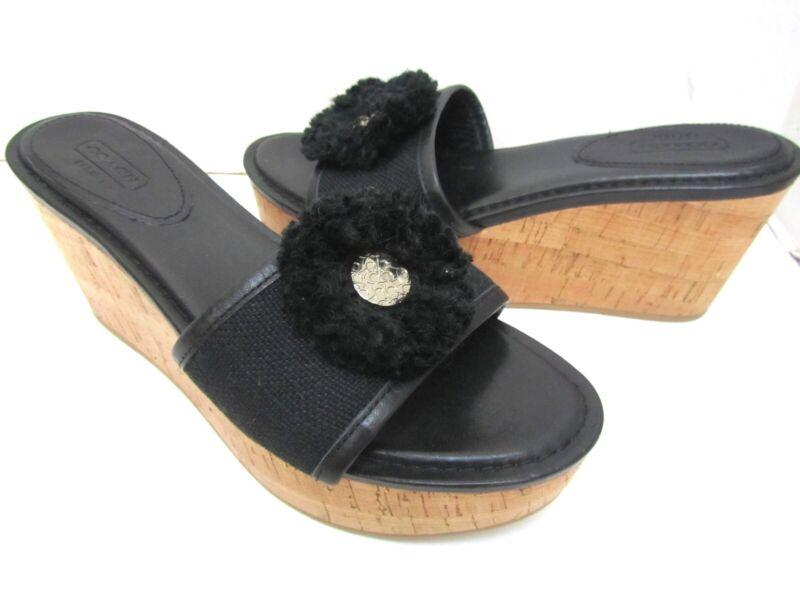 180315fce0 Coach Jazmin Black Leather Cork Platform Wedge Sandals Slides Shoes 8.5