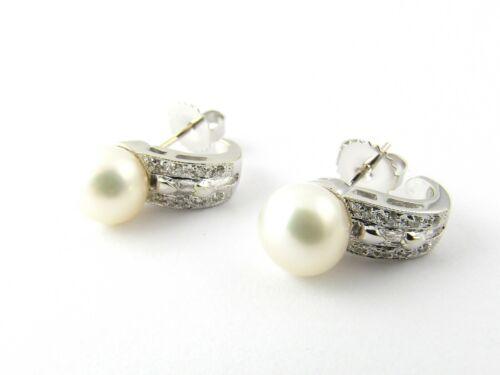 Vintage 14 Karat White Gold Pearl and Diamond Earrings #5263