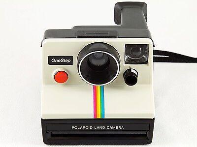Vintage Polaroid SX-70 One Step White Rainbow Stripe Instant Land Camera TESTED