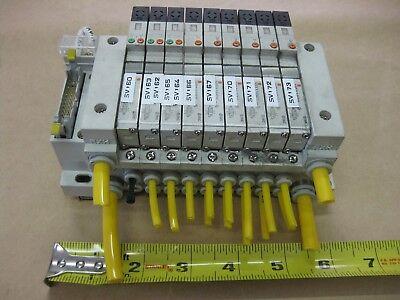 Smc Pneumatic Pcw Type 9 Valve Bank Lot Vq1000y-5 24vdc Pcw Type Manifold Serial