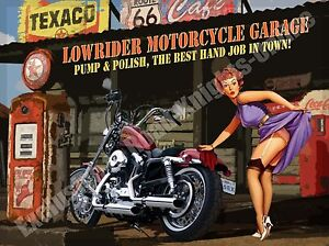 Lowrider Motorcycle Garage, Funny Crusier Motorbike Chopper Small Metal/Tin Sign