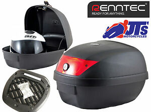 RENNTEC 28 LITR BIKE SCOOTER TOPBOX TOP BOX CASE LUGGAGE + UNIVERSAL MOUNT PLATE
