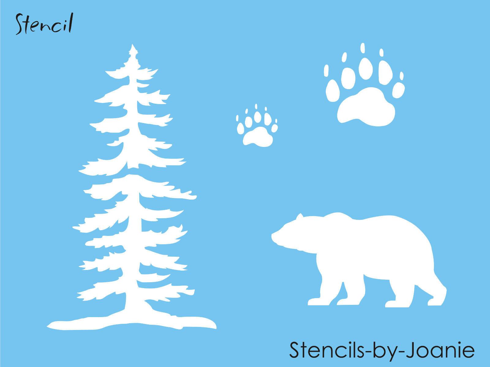 STENCIL Bear Tree Paw Tracks Rustic Mountain Outdoor Cabin