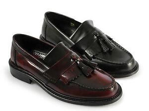Ikon-SELECTA-Mens-MOD-Ska-Skinhead-Polished-Leather-Tassle-Loafers-Oxblood-Black