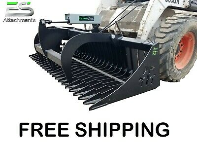 Es 72 Rock Bucket Grapple Skid Steer Quick Attach Loader Tractor Free Shipping