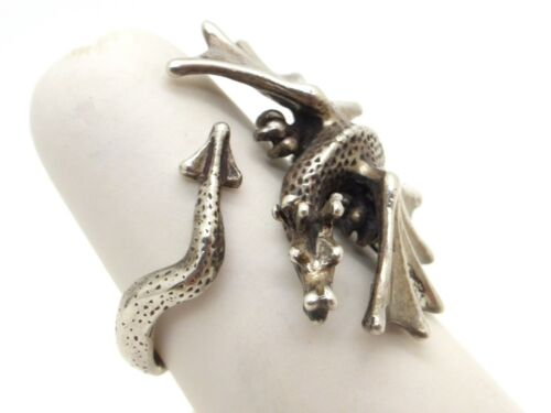 Adjustable Dragon Ring 925 Sterling Silver Lexi Dick Hallmarked 1987 UK Size O