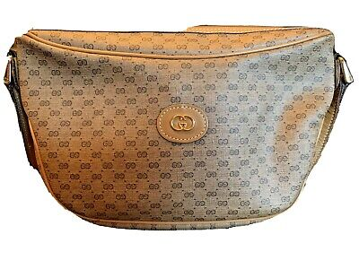 Vintage Authentic GUCCI Micro GG Brown Tan Coated Canvas/Leather Shoulder Bag