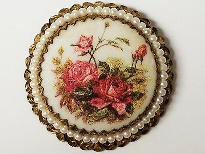Vintage Sugar Coated ROSE ROSES Faux Pearl Cut Out Filigree Pin Brooch 2