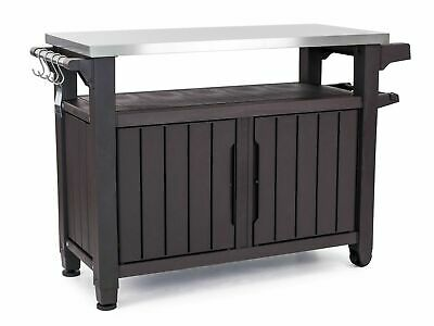 Keter Unity XL Portable Outdoor Table and Storage Cabinet with Accessory Hook...