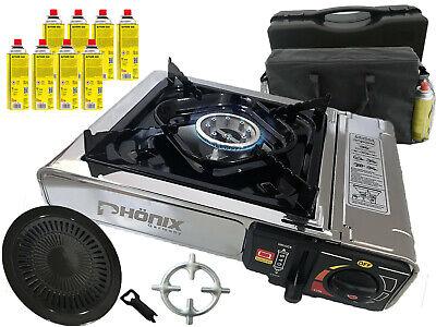 Phönix PC-20 Acero Inox. Estufa de Gas Camping Cocina + Accesorio Parrilla...