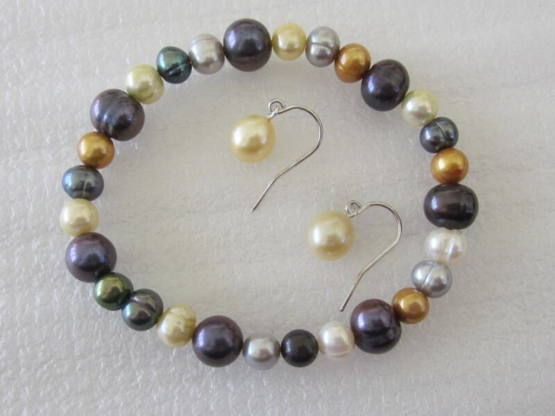 Mulit-Color Freshwater Potato Pearl Bracelet and Earring Set  in Sterling Silver