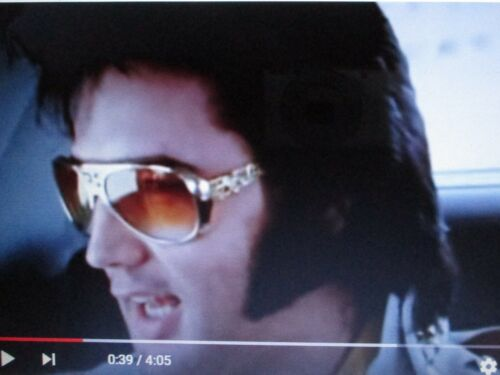 Elvis Presley Gold Sunglasses with Case  E P+ TCB Logo