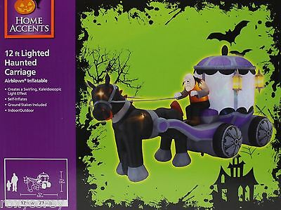 Gemmy 12 ft Lighted Kaleidoscopic Haunted Carriage Airblown Inflatable NIB