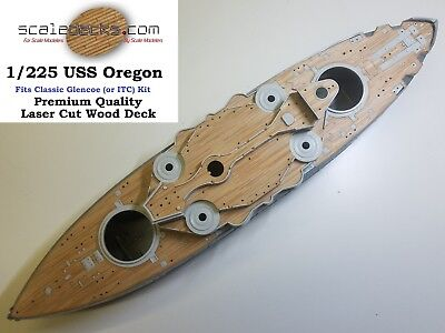 Wood Deck for 1/225 USS Oregon (fits Glencoe or ITC Kit) by Scaledecks.com