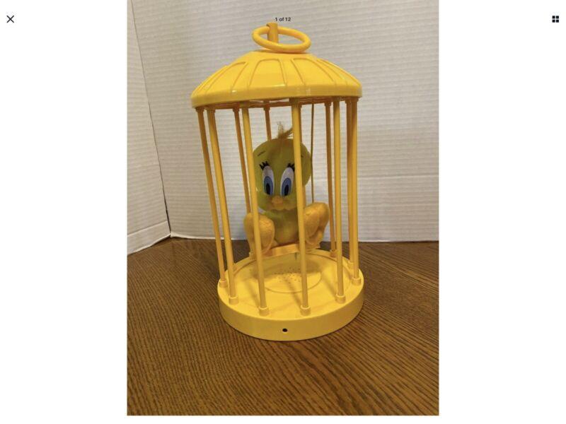 Vintage Talking 1988 Play By Play Tweety Bird Plush In Cage Works Warner Bros