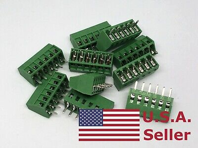 10pcs 2.54mm 0.1 Universal 6 Pin 6 Poles Pcb Screw Terminal Block Connector