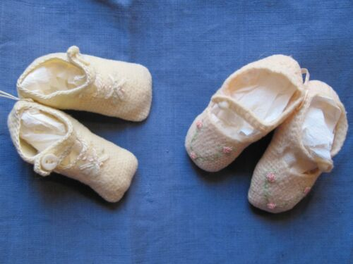 Antique vintage knitted wool baby booties--Lot of 2