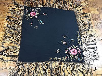 "Vintage 1920's black floral embroidered piano shawl scarf fringe 52"" x 52"""
