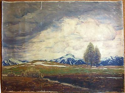 N3-016. THE ALPS. OIL PAINTING ON CANVAS. FRANZ XAVIER. HOCH. GERMANY. 1914.