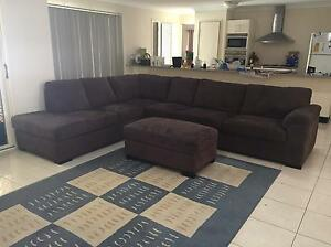 Suede corner lounge with chaise and fold-out double bed Cornubia Logan Area Preview